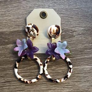 NWT Anthro Lele Sadoughi Floral Drop Earrings